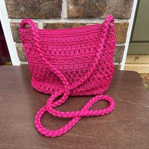 Pink crochet small crossbody bag